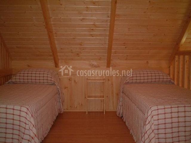 Dormitorio doble abuhardillado con colchas de cuadros
