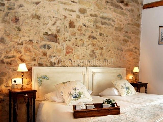 Habitación doble con muro de piedra