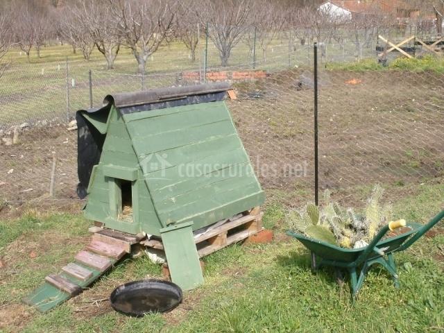Gallinero en el jardín