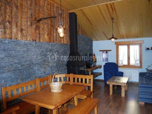 Salón y comedor en azul