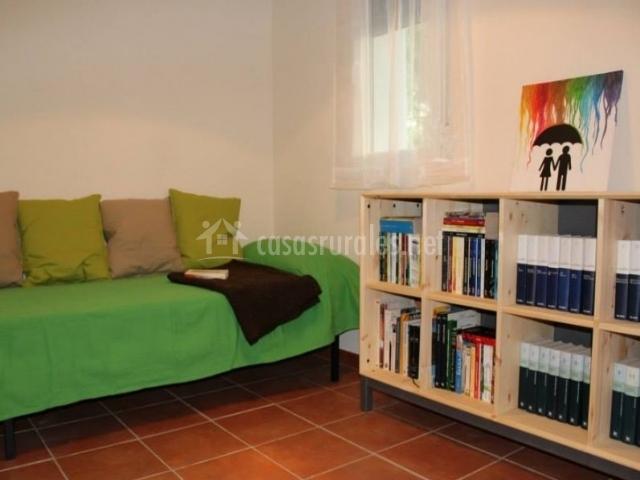 Sala con colección de libros y decorado en verde