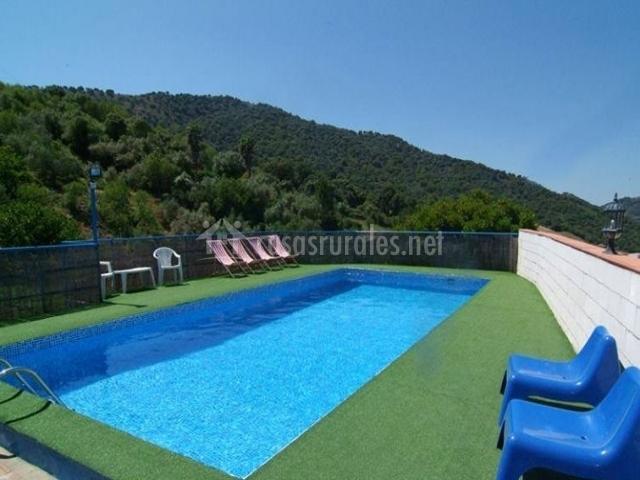 Vistas de la piscina con sillas azules