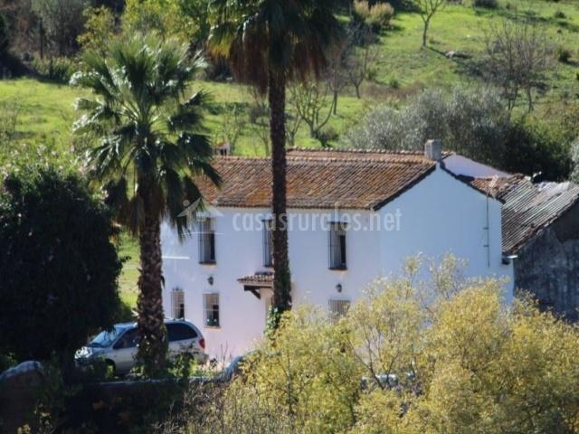 Acceso principal con fachada en blanco y 2 plantas