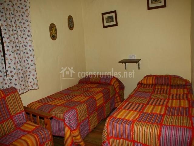 Dormitorio con dos camas individuales con colchas coloridas