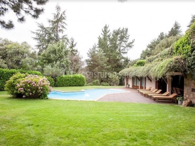 Acceso a la piscina entre los jardines