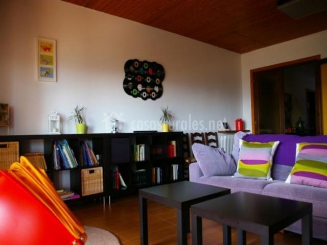 Zona de estar con sofás y librería