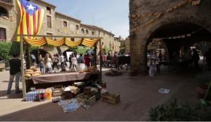 La Plaza de Monells durante el rodaje