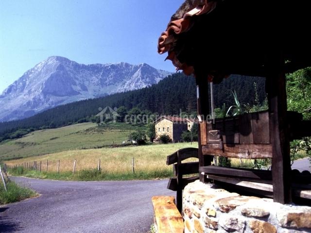Camino asfaltado al alojamiento con vistas a las montañas