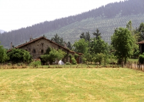 Fachada lateral de piedra con jardines