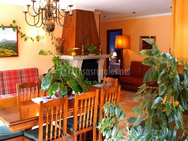 Salón con chimena y plantas
