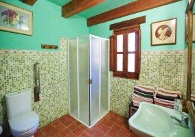 Baño verde con ducha