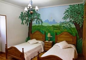 Dormitorio de árboles verdes
