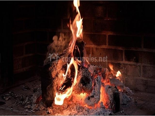 Fuego de la barbacoa de la casa rural