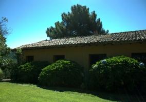 Planta baja y jardines con hortensias