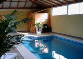 Vistas de la piscina con sauna