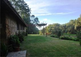 Zona ajardinada y estructura del porche