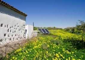 Huerta con paneles solares en la casa rural