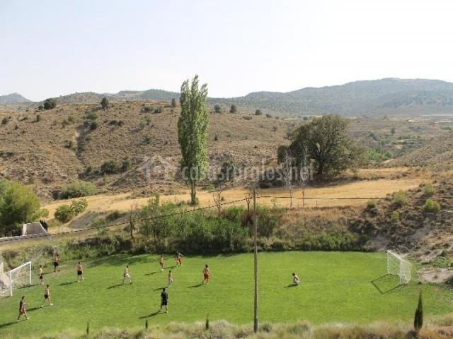 Campo de fútbol con dos porterías y césped natural