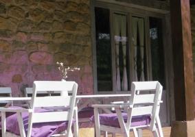 Terraza y flores violetas