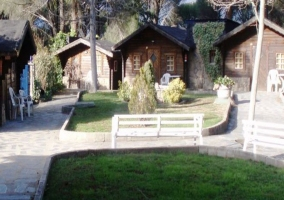 Bungalows de madera con jardines