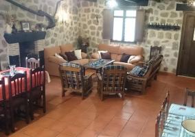Sala de estar con chimenea en piedra
