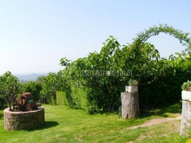 Vistas del jardín con pozo