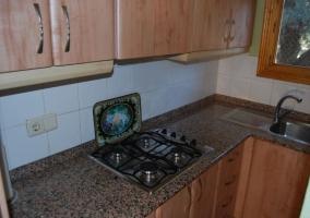 Fuegos de la cocina y fregadero sobre la encimera