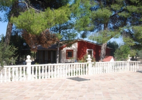 Vista exterior de las casas rojas y árboles