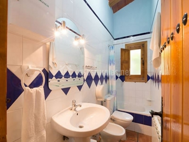 Cuarto de baño con ducha en tonos azules