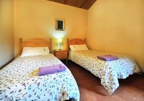 Dormitorio doble con dos camas individuales y mesilla