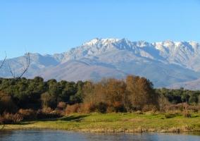 Vista de la Sierra de Gredos y bosque con laguna delante