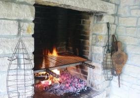 Barbacoa con ascuas y fuego