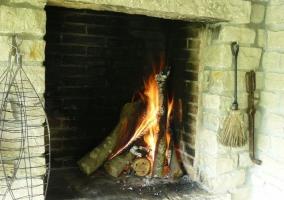 Chimenea con leña ardiendo