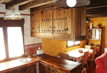Hanging cabinets on the American bar in the kitchen