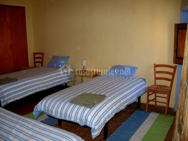 Dormitorio con tres camas azules