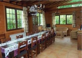Salón-comedor con mesa larga