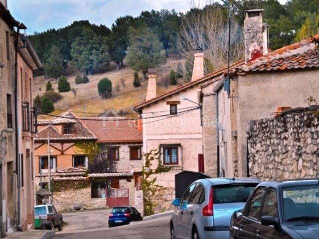 Otra calle del pueblo con el bosque al fondo