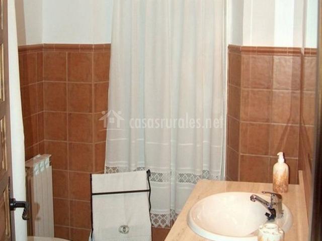 Cuarto de baño marrón con ducha