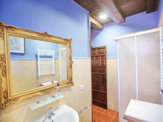 Baño con espejo anticuado