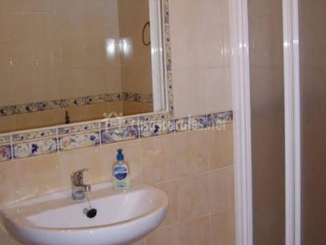 Aseo de la casa con espejo y ducha
