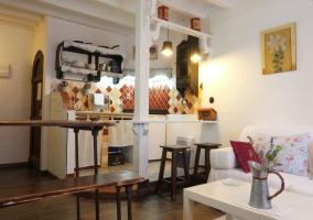 Cocina y salón Rústico