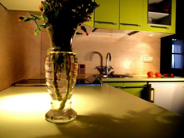 Cocina decorada en verde