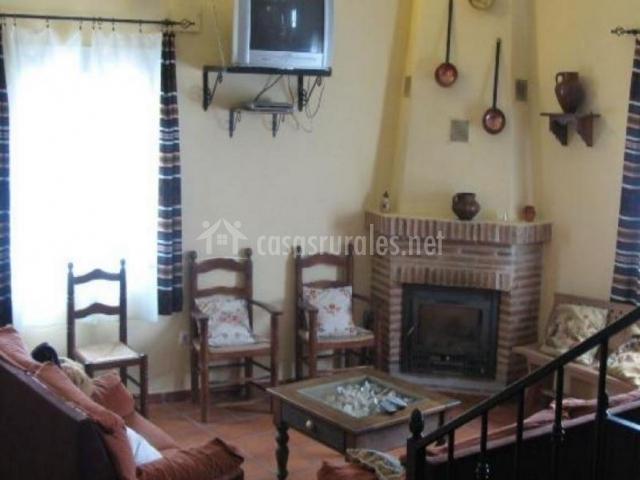 Chimenea y sofás del salón