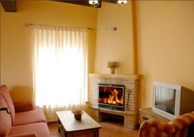 Salón con chimenea de leña y ventana