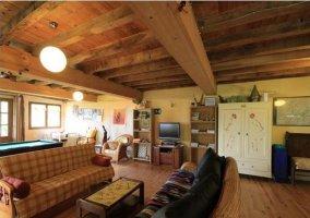 Salón con sofás y chimenea de leña
