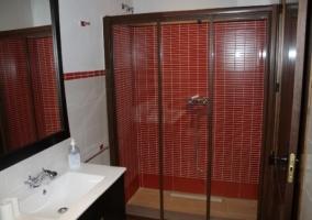 Aseo con azulejos rojos en la ducha