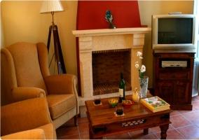 Sala de estar con chimenea y televisor al lado