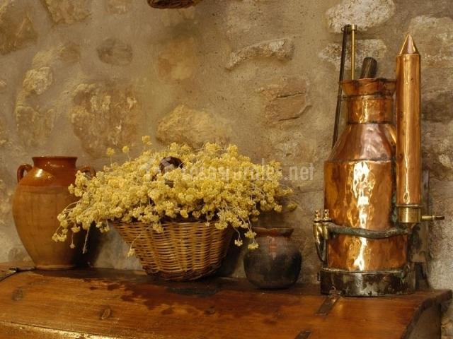 detalle de la decoracin rstica de la casa rural