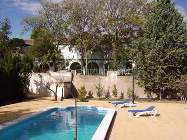 Vistas de la zona de piscina con hamacas