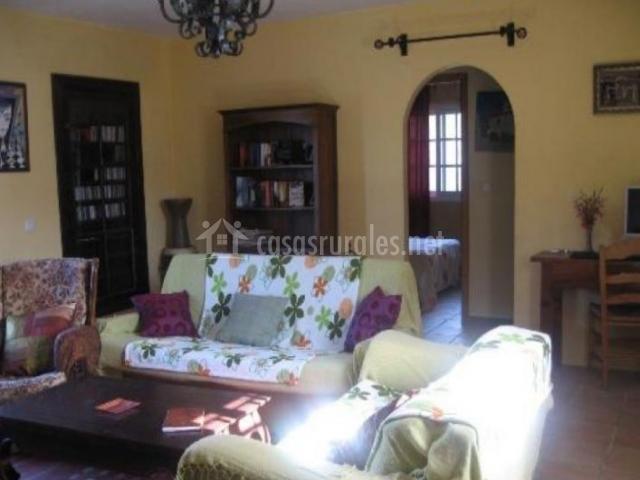 Sala de estar con sillones tapizados y libros